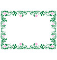 antique renaissance frame with pink roses vector image vector image