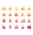 candle flame silhouette fire icon light set vector image vector image