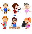 cartoon kids with different hobbies vector image vector image