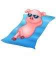 cartoon piglets sunbathing on beach vector image vector image