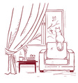 cat watching birds near the windowInterior room vector image vector image