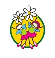 children on flowers vector image vector image