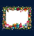 christmas frame xmas gifts and new year present vector image vector image