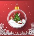 christmas party inside christmas ball vector image vector image