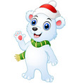 christmas polar bear cartoon waving hands vector image vector image