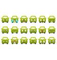 cute green car cartoon characters showing vector image vector image