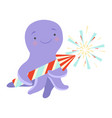 cute octopus with a party popper lovely cartoon vector image vector image