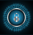 cyber security lock technology circle vector image vector image