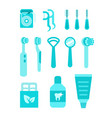 dental care oral hygiene individual tools vector image vector image