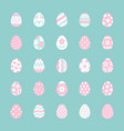 easter food flat icons set painted eggs egg hunt vector image