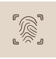 Fingerprint scanning sketch icon vector image vector image