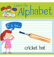 Flashcard letter C is for cricket bat vector image vector image