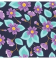 Flowers pattern vintage on blue vector image vector image