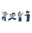 funny sailors and captain kids set vector image vector image