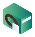 green biscuit package icon isometric style vector image vector image