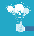 Hand holding idea balloon vector image