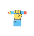 hand holding pencil line icon vector image