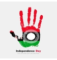 Handprint with the Flag of Malawi in grunge style vector image vector image