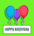 happy birthday card with balloons over green vector image vector image