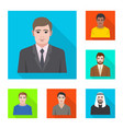 isolated object of profile and portrait icon set vector image