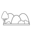 line countains with tree and ecology landscape vector image vector image