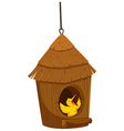 Little bird in the bird house vector image vector image