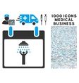 Man Shower Calendar Day Icon With 1000 Medical vector image vector image