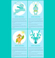 merry christmas set of posters with smiling animal vector image vector image