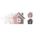 moving pixel halftone house building icon vector image vector image
