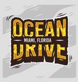 ocean drive miami beach florida summer typographic vector image vector image