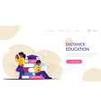 online education students view lessons through vector image vector image