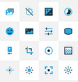 photo icons colored set with gradient tag face vector image