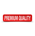 premium quality red 3d square button isolated on vector image vector image