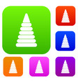 pyramid built from plastic rings set color vector image vector image