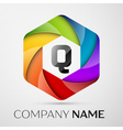 Q Letter colorful logo in the hexagonal on grey vector image vector image