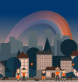Rainbow in the city vector image vector image