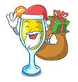 santa with gift mimosa mascot cartoon style vector image