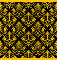 seamless floral pattern golden and black vector image