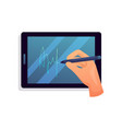 security tablet hand writing words modern touch vector image