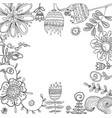 set of floral graphic design elements for coloring vector image vector image