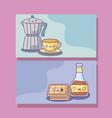 set teapots with food kawaii style vector image vector image