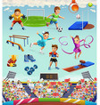Sport funny characters and objects icon set vector image
