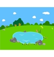 Spring with pond lanscape vector image