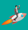 successful businessman flying on rocket vector image