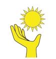 sun glow hand icon vector image vector image
