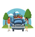 vacations on road cartoon vector image vector image