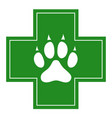 veterinary care icon white dog paw on cross vector image vector image