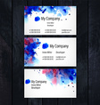 Watercolor business card template vector image vector image