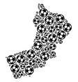 yemen map composition of soccer balls vector image vector image