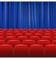 Red seats in hall with curtain vector image